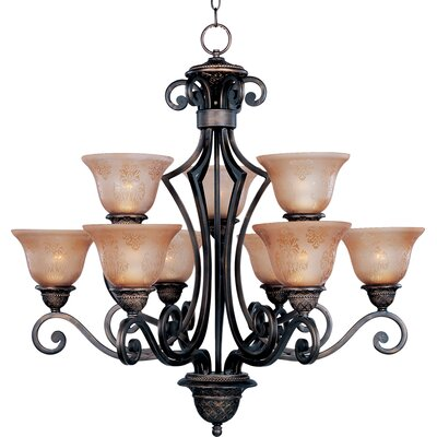 Alsager 9-Light Shaded Chandelier Shade Color: Screen Amber