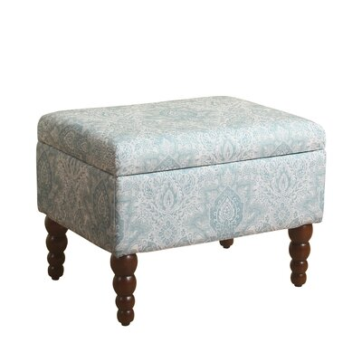 Toulouse Rectangular Storage Ottoman Upholstery: Pale Blue/White