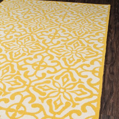 Quincy Yellow/White Outdoor Area Rug