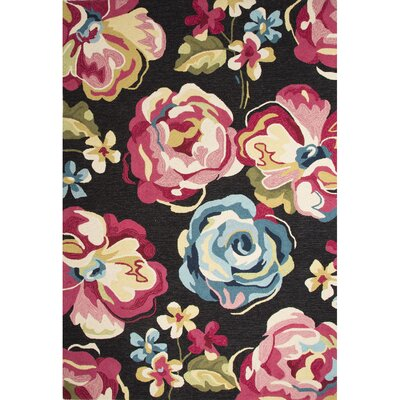 Harlan Hand-Tufted Black/Pink Area Rug