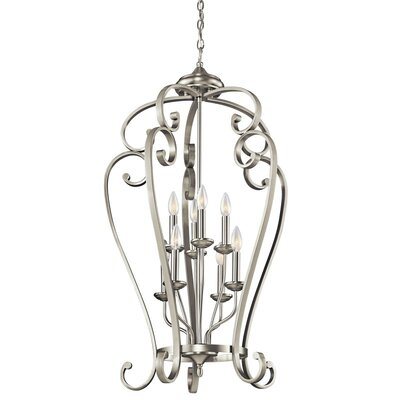 Greenwald Metal 8-Light Candle-Style Chandelier Finish: Brushed Nickel, Size: 40.75
