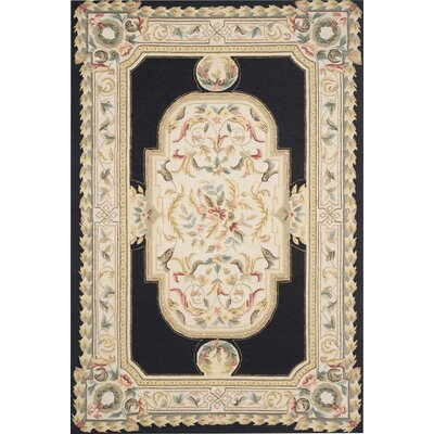 Duarte Hand-Hooked Navy/Ivory Area Rug Rug Size: 8 x 10