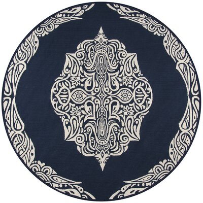 Bromville Blue Indoor/Outdoor Area Rug Rug Size: Round 9