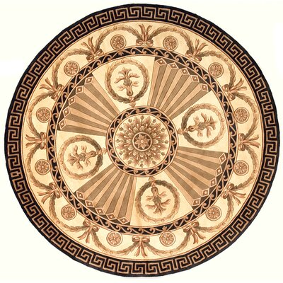 Laurel Hand-Tufted Brown/Black Floral Area Rug Rug Size: Round 79