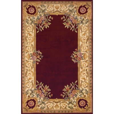 Laurel Hand-Tufted Burgundy/Beige/Ivory Area Rug Rug Size: Rectangle 36 x 56