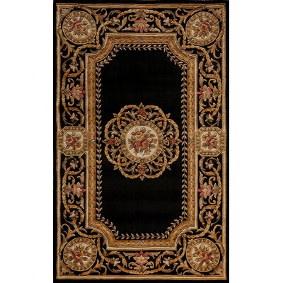 Laurel Hand-Tufted Black/Brown Area Rug Rug Size: 36 x 56
