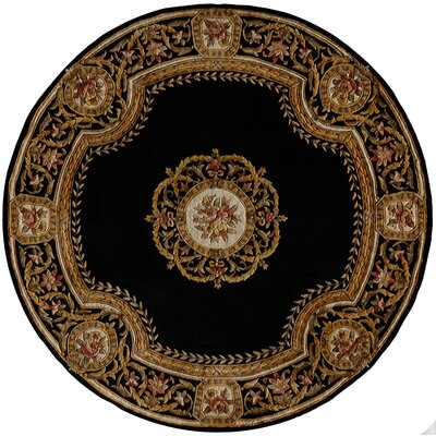Laurel Hand-Tufted Black/Brown Area Rug Rug Size: Round 79