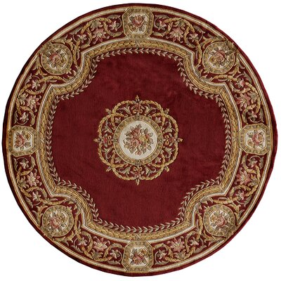 Laurel Hand-Tufted Burgundy Area Rug Rug Size: Round 79