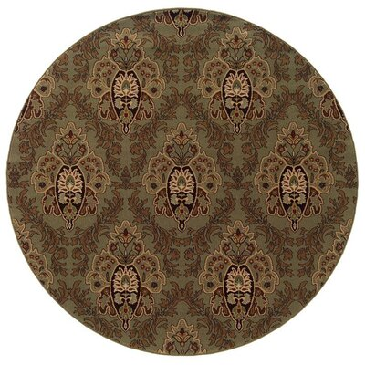 Montes Green/Brown Area Rug Rug Size: Round 710