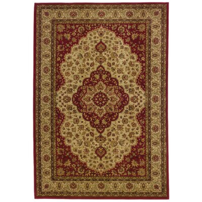 Barrows Red/Gold Area Rug Rug Size: 53 x 76