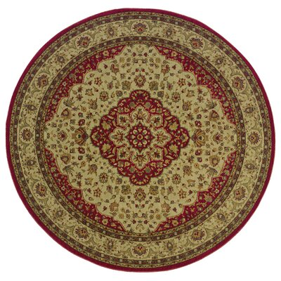 Barrows Red/Gold Area Rug Rug Size: Round 78