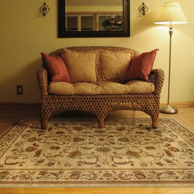 Barrows Beige/Red Area Rug Rug Size: 53 x 76