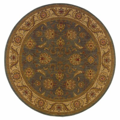 Barrows Floral Green/Beige Area Rug Rug Size: Round 78