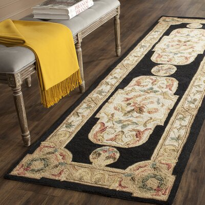 Duarte Hand-Hooked Navy/Ivory Area Rug Rug Size: 3' x 5'