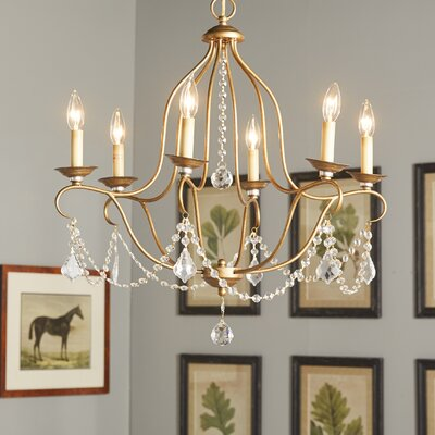 Bayfront 6-Light Crystal Chandelier Finish: Antique Gold Leaf