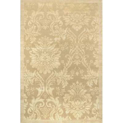 Verdi Antique Damask Hand-Knotted Ivory Area Rug