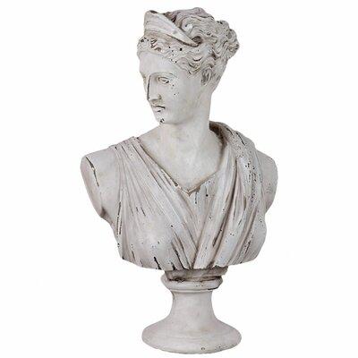 Cement Greek Deity Artemis in Antique White