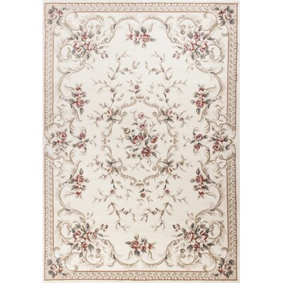 Vianney Aubusson Ivory Area Rug Rug Size: Rectangle 53 x 77