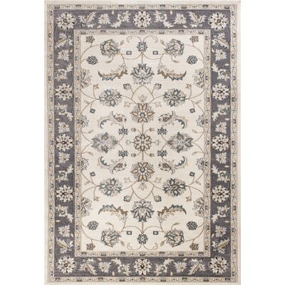 Arnot Ivory/Gray Area Rug Rug Size: Rectangle 53 x 77