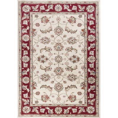Arnot Ivory/Red Area Rug Rug Size: Rectangle 33 x 53