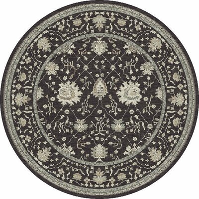 Appleridge Charcoal Tabriz Area Rug Rug Size: Round 710