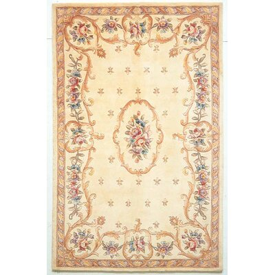 Valeriane Ivory Fleur-De-Lis Aubusson Area Rug Rug Size: 53 x 8