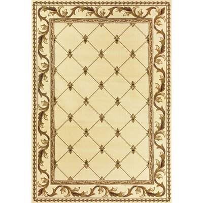 Barwin Fleur De Lis Ivory Area Rug Rug Size: Rectangle 53 x 77