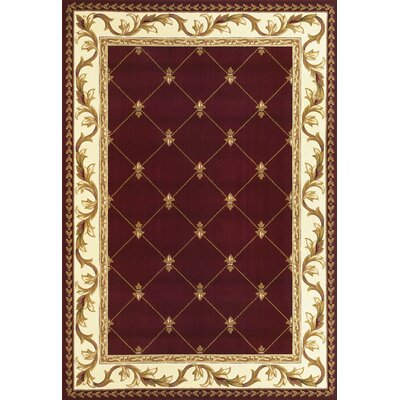 Barwin Fleur De Lis Red Area Rug Rug Size: Rectangle 53 x 77
