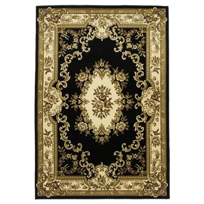 Barwin Black & Ivory Aubusson Area Rug Rug Size: Rectangle 53 x 77