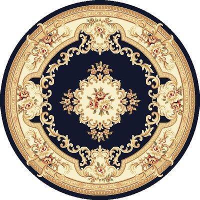 Barwin Black & Ivory Aubusson Area Rug Rug Size: Round 77