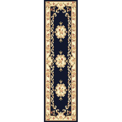 Barwin Black & Ivory Aubusson Area Rug Rug Size: Runner 22 x 711