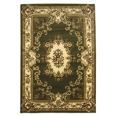 Barwin Green & Ivory Aubusson Area Rug Rug Size: Rectangle 53 x 77