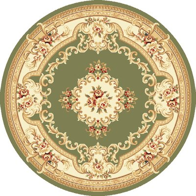 Barwin Green & Ivory Aubusson Area Rug Rug Size: Round 77