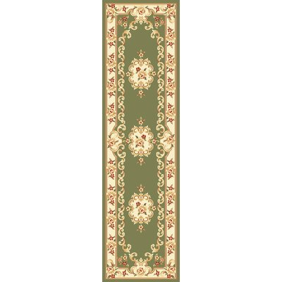 Barwin Green & Ivory Aubusson Area Rug Rug Size: Runner 22 x 711