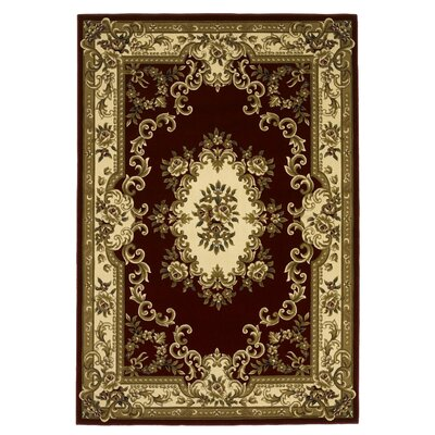 Barwin Aubusson Red & Ivory Area Rug Rug Size: Rectangle 77 x 1010