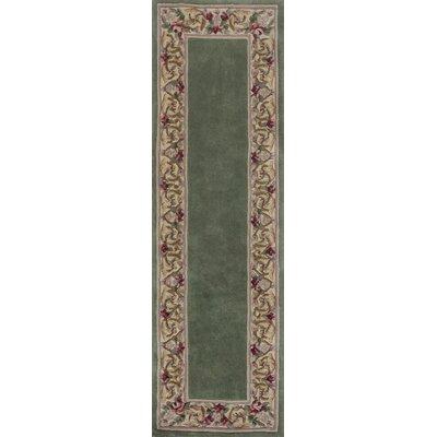 Valeriane Sage Floral Border Area Rug Rug Size: Runner 23 x 96