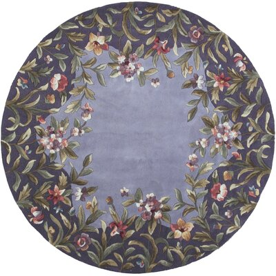 Veronique Lavender/Green Garden Area Rug Rug Size: Round 56