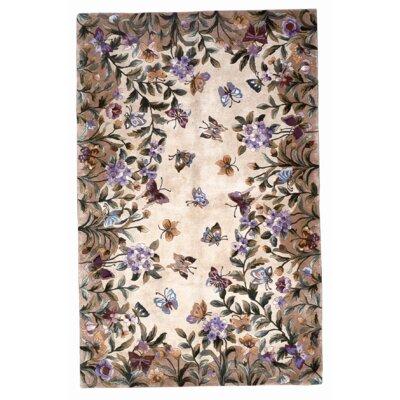 Veronique Beige Butterfly Garden Area Rug Rug Size: 36 x 56