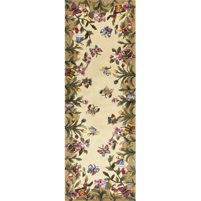 Veronique Beige Butterfly Garden Area Rug Rug Size: Runner 26 x 8