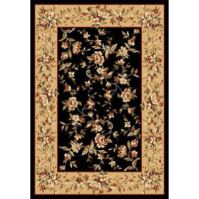 Verveine Black/Beige Floral Delight Area Rug Rug Size: Rectangle 23 x 33
