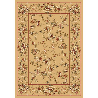 Verveine Beige Floral Delight Area Rug Rug Size: Rectangle 53 x 77
