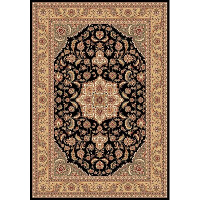 Barwicks Black/Beige Medallion Rug Rug Size: Rectangle 53 x 77