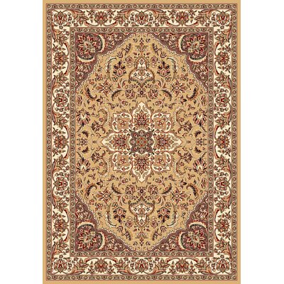 Barwicks Beige/Ivory Medallion Rug Rug Size: Rectangle 53 x 77