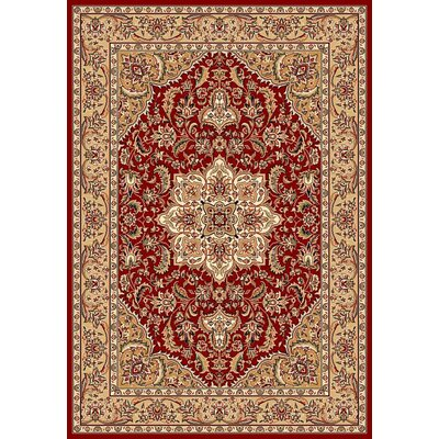 Barwicks Red & Beige Medallion Area Rug Rug Size: Round 77
