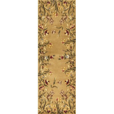 Veronique Gold Tulip Garden Area Rug Rug Size: 26 x 46
