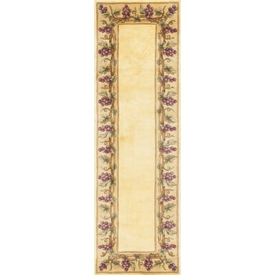 Aimee Ivory Grapes Border Area Rug Rug Size: Rectangle 53 x 83
