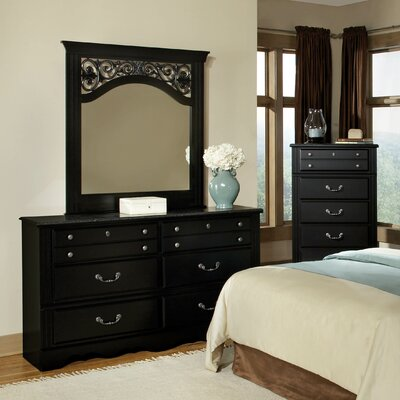 Arbouet with Marble Top 6 Drawer Dresser with Mirror