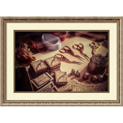 'Old World Sewing' Framed Photographic Print