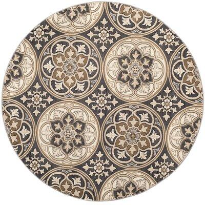 Taufner Light Gray/Beige Area Rug Rug Size: Round 8 x 8