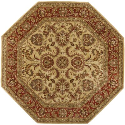 Garrison Gold/Red Area Rug Rug Size: Octagon 8